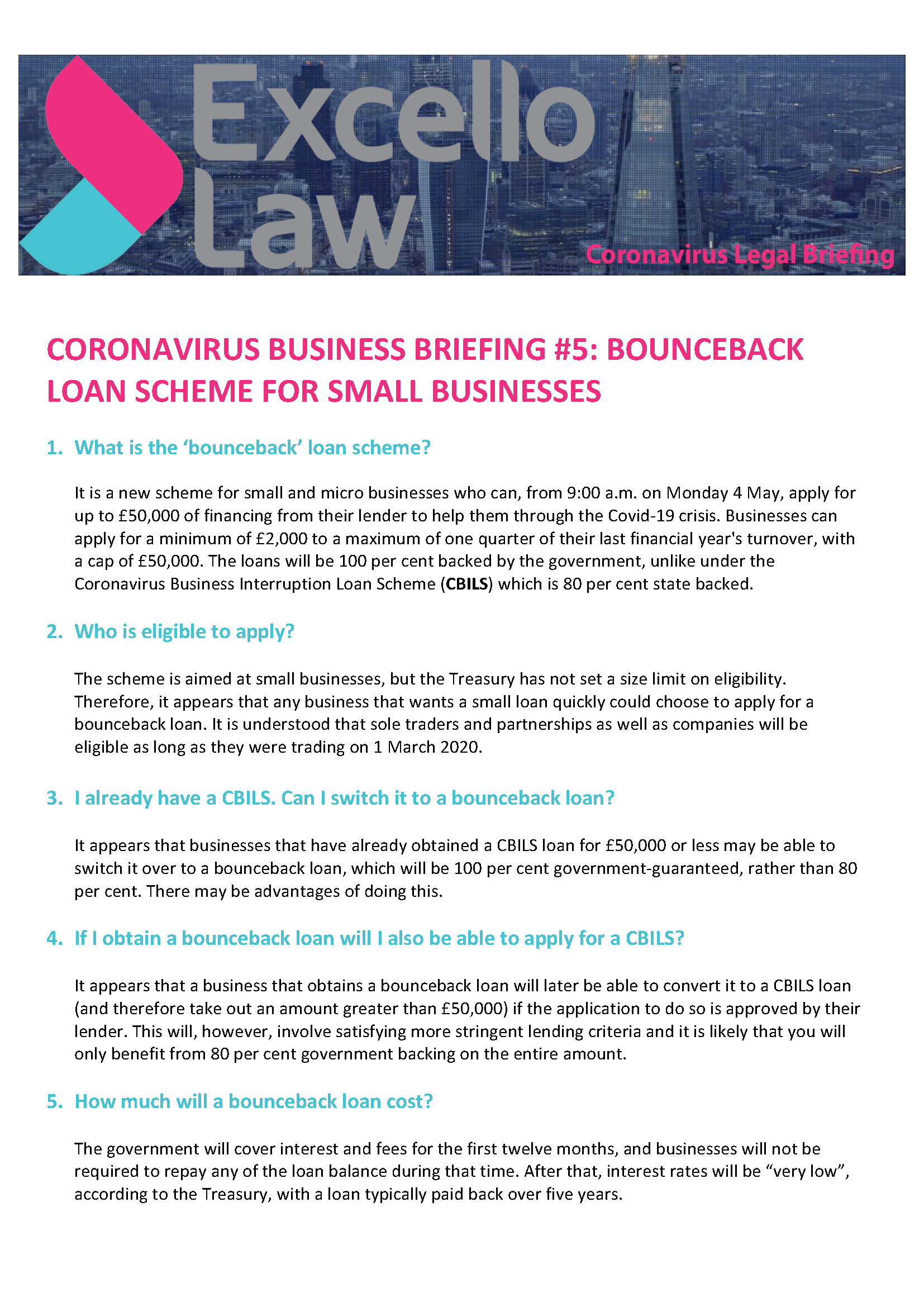 Coronavirus Business Briefing #5: Bounceback Loan Scheme for Small  Businesses – Awen Consultants Limited